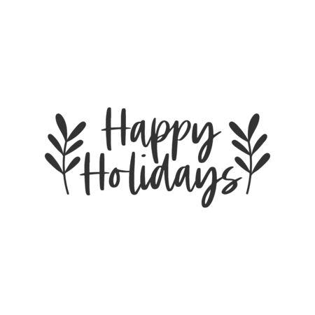 Happy holidays black hand written lettering phrase isolated on white background Ilustração