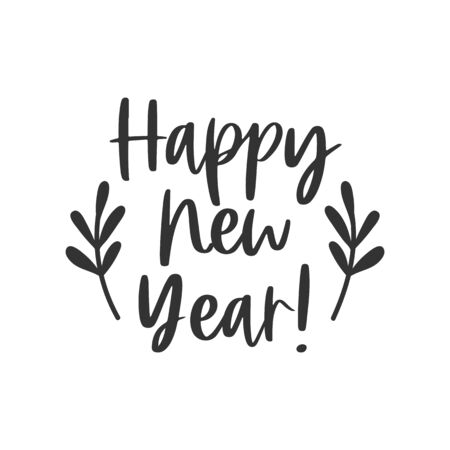 Happy new year black hand written lettering phrase isolated on white background