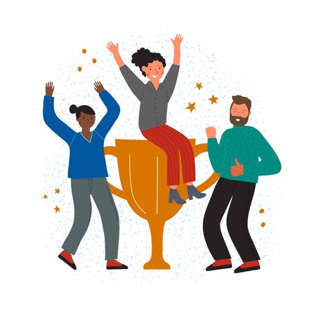 Successful team concept. Manager sits on cup and happy team. Colored flat vector illustration. Isolated on white background.  イラスト・ベクター素材