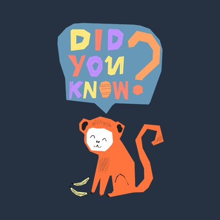 Interesting fact concept. Did you know question lettering. Handwritten modern kids design with monkey