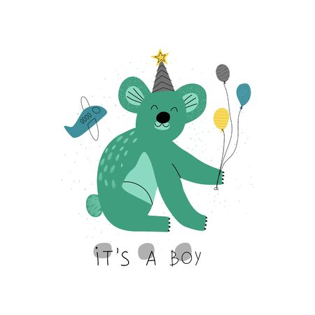 Hand drawn colorful baby shower greeting card template. Cute koala with balloons and text It's a boy. Flat vector illustration Ilustración de vector