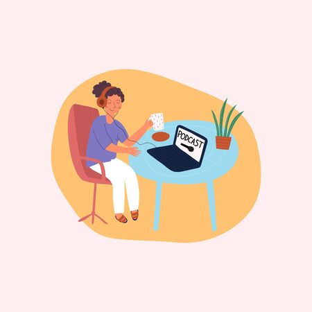 Woman relaxing, drinks a coffee and listeners a podcast. Live streaming, broadcast flat vector illustration. Male and female social media network bloggers collaboration. Cartoon characters