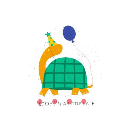 Hand drawn colorful kids birthday greeting card template. Cute turtle with balloons and text Sorry I'm a little late. Flat vector illustration