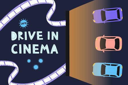 Open air cinema concept. Watching movies outdoors in the city parking lot evening. Safe Cinema. Flat vector illustration Ilustración de vector