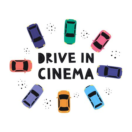 Drive in open air cinema concept. Watching movies outdoors in the city parking poster. Drive in cinema lettering with cars. Flat vector illustration