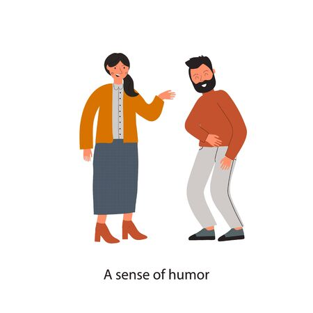 Soft skills concept with business man and women who joke and laugh. Text A sense of humor. Colored flat vector illustration. Isolated on white background.