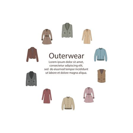 Colorful round frame with outerwear in cartoon style. Spring and autumn collection of fashion man and women clothing. Color vector background with text