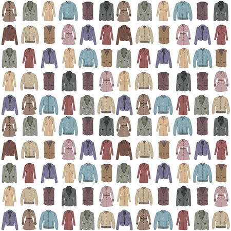 Seamless background with outerwear in cartoon style. Spring and autumn collection of fashion man and women clothing. Color vector pattern