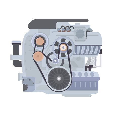 Car internal combustion engine. Flat vector illustration isolated on white background.