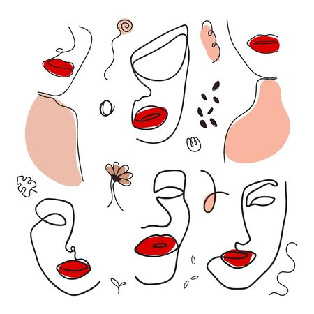 Collection with women's faces one line style. Female superiority stylized pattern. Modern printable design for clothing or stickers