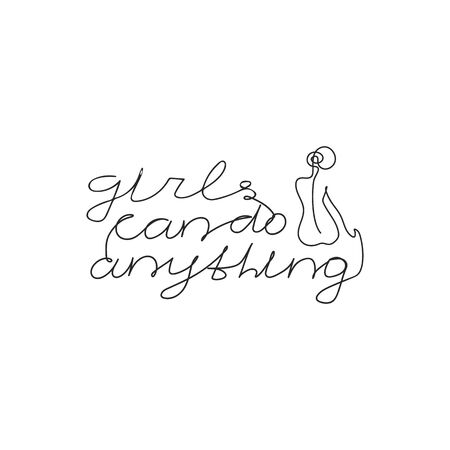 Girls can do anything slogan with women's body hand drawn t-shirt print. Female superiority stylized lettering. Girl body with feminism slogan one line style. Postcard, banner, poster design