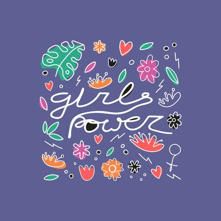 Girls power with flowers and leaves hand drawn t-shirt print. Female superiority stylized lettering. Girls power motivational slogan. Postcard, banner, poster design