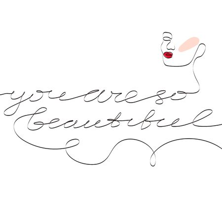 Modern card You are so beautiful one line style. Female superiority stylized card. You are so beautiful phrase.  Modern design