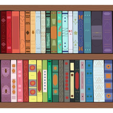 Wooden bookcase full of books. Isolated on white background. Education library and bookstore concept. Vector illustration.