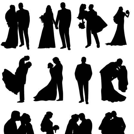 Set von Vektor-Silhouetten eines Bräutigams und einer Braut. Gerade verheiratet.
