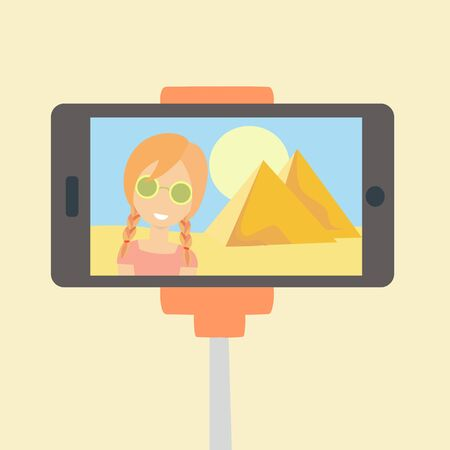 Young happy woman travelling alone to Egypt. Caucasian girl make selfie. Adventure trip. Around the world. Vector illustration on cartoon style