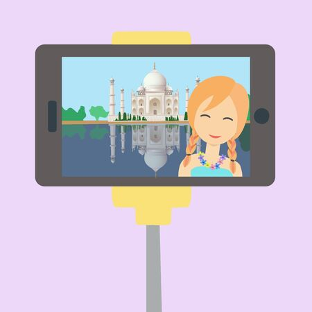 Happy beautiful girl make a selfie with mobile phone in India. Travel around the world. Flat style colorful cartoon illustration in vector