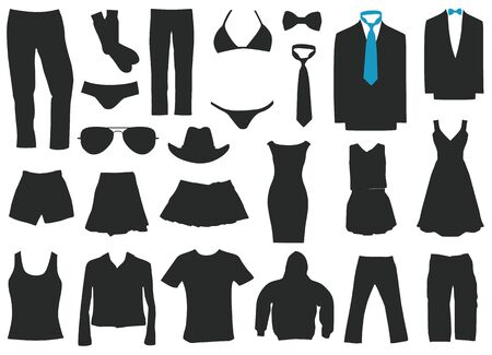 Set of men and women clothing with flat design