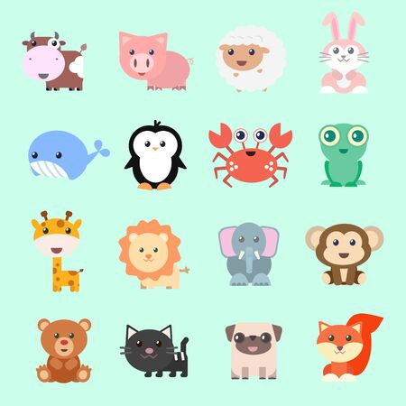 Set of vector funny animals in cartoon style. Cute animals on color background. A collection of small animals in the children's style.