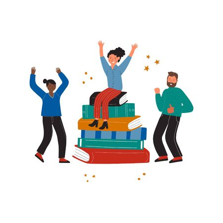 A girl sits on a stack of books and nearby dancing friends. Modern illustration of book lover, reader, literature fan isolated on white background. Vector Иллюстрация