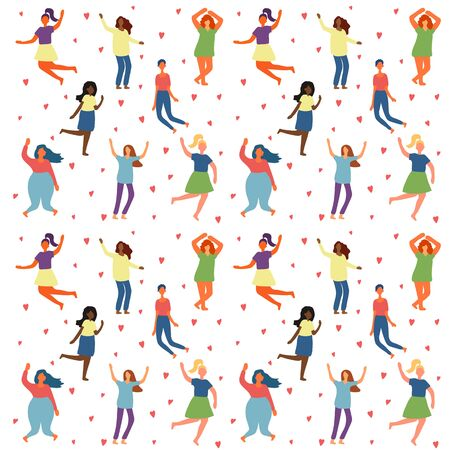 Seamless background with multiracial women of different figure type and size dressed in comfort wear. Female cartoon characters pattern. Body positive movement and beauty diversity. Vector illustration Ilustracja