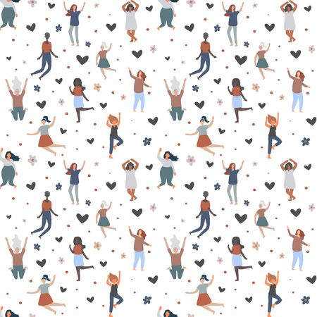 Seamless background with multiracial women of different figure type and size jump and have fun. Female cartoon characters pattern. Body positive movement and beauty diversity. Vector illustration Ilustracja