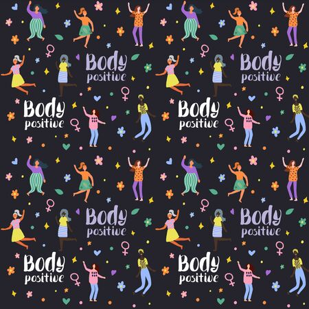 Seamless background with multiracial women of different figure type and size with text. Female cartoon characters pattern. Body positive movement and beauty diversity. Vector illustration