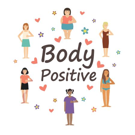 Multiracial women of different figure type and size dressed in comfort wear. Female cartoon characters with text. Body positive movement and beauty diversity. Vector illustration