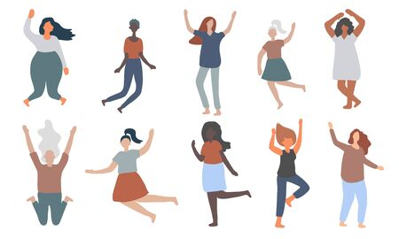 Multiracial women of different figure type and size dressed in comfort wear jump and have fun. Female cartoon characters. Body positive movement and beauty diversity. Vector illustration Standard-Bild - 146358617