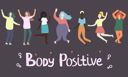 Multiracial women of different figure type and size dressed jumping. Female cartoon characters. Body positive movement and beauty diversity. Vector illustration