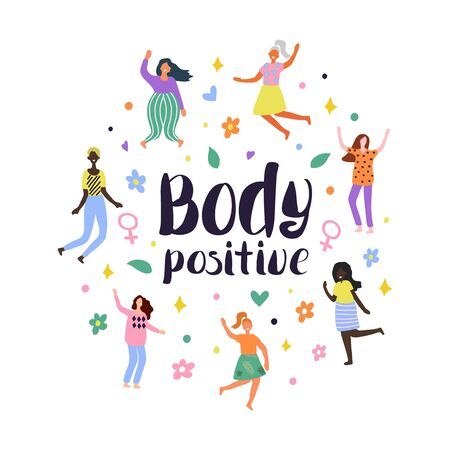 Background with multiracial women of different figure type and size dressed in comfort wear. Female cartoon characters. Body positive movement and beauty diversity. Vector illustration Vetores