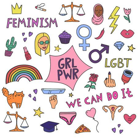 Big simple feminism set with protest symbols and text. Vector color illustration for web