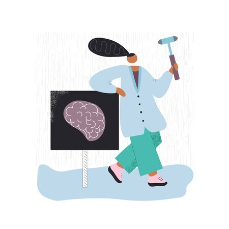 Standing neirologist with reflex hammer hand drawn color illustration. Doctor in special clothes modern characters. Brain scan. Medical concept