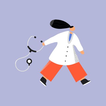 Going doctor with stethoscope hand drawn color illustration. Women in special clothes modern characters. Medical concept