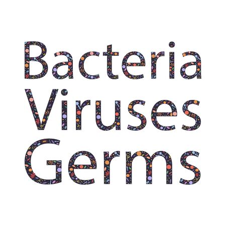 Colorful background with dangerous viruses, germs and bacteria with text. Vector illustration for web design