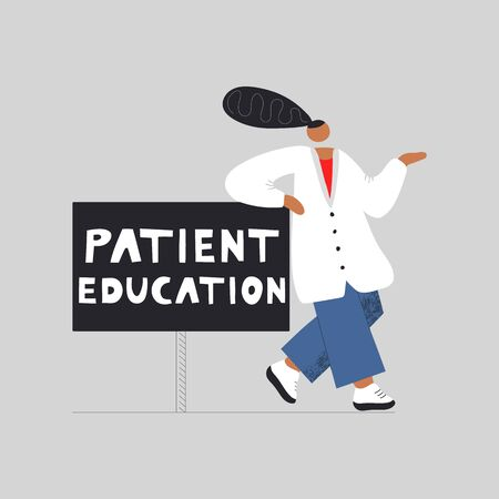 Patient education concept design with characters. Can use for web banner, cards, hero images. Flat vector illustration. 스톡 콘텐츠 - 146381612