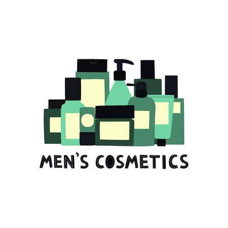 Banner with empty and clean green containers: bottles; spray; cream jar; tube and text Men's cosmetics. Cosmetology and dermatology concept. Hand drawn vector Illustration. Illustration