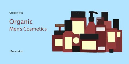 Design for banner,card or placard with empty and clean burgundy containers: bottles, face razor, spray, cream jar and tube and text Organic Men's Cosmetics. Hand drawn vector Illustration. Иллюстрация