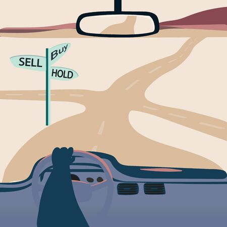 A road with buy, sell or hold words on sign. Chose your way motivational banner. Trading concept. Vector illustration.  Иллюстрация