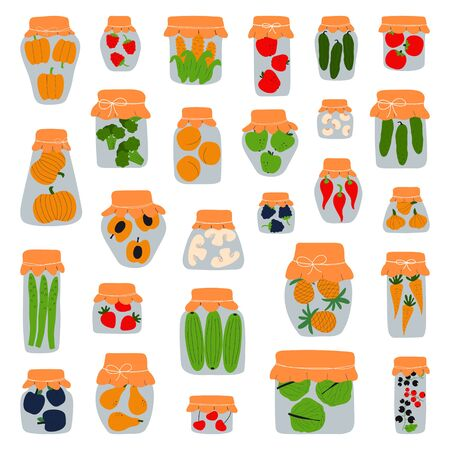 Collection of jars for pickling vegetables, fruits and jam. Variety of preserved food in glass jars - pickles, jam, marmalade, sauces, ketchup. Fermented food. Autumn canning. Conservation of harvest.