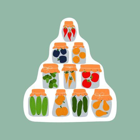 Sticker design with jars for pickling vegetables and fruits. Preserving vegetables and fruits. Fermented food. Vegetarian healthy production shop. Conservation of harvest. Ilustração