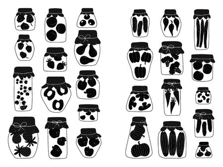 Collection of  silhouette jars for canning vegetables, fruits and jam. Variety of preserved food in glass jars - pickles, jam, marmalade, sauces, ketchup. Autumn canning. Conservation of harvest. Ilustração