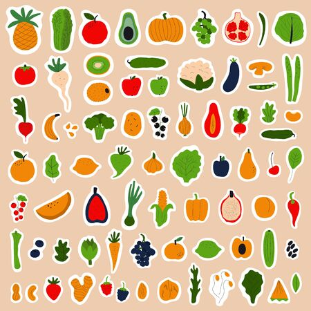 Healthy food concept. Colorful big stickers collection with fruits and vegetables. Flat vector illustration.