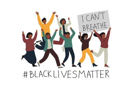 Rasism concept. Illustration with ranning young afro american people holding a placard with text I can't breathe. Idea of demonstration for racial equality. Flat vector illustration Çizim