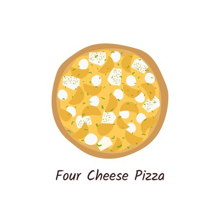 Four cheese pizza top view with ingredients. Italian tasty pizza with  mozzarella, briel and ricotta. Flat style isolated on white background. Vector  イラスト・ベクター素材