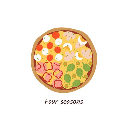 Pizza Four Seasons top view with ingredients. Italian tasty pizza with salami, mushrooms, olives, tomatoes, artichokes, peppers, eggs and cheese. Flat style isolated on white background. Vector