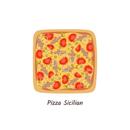 Pizza Sicilian top view with ingredients. Italian tasty pizza with anchovies, tomatoes, onion, olives and cheese. Flat style isolated on white background. Vector