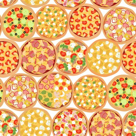 Seamless pattern with different types of pizza top view with ingredients. Italian tasty pizza: vegetarian, seafood, cheese, mushroom, hawaiian and meat topping in flat style on white background.