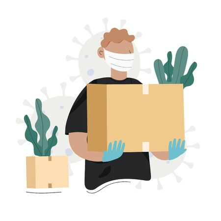 The courier in medical mask and sterile gloves holds your order in box. Safe and fast home delivery. Safety delivery concept. Flat vector illustration