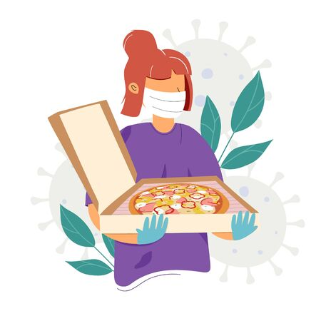 Pizza delivery woman in medical mask and sterile gloves. Safe and fast home delivery. Safety delivery concept. Flat vector illustration